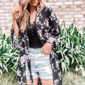 Spiritual Gangster Black With Floral Duster Kimono
